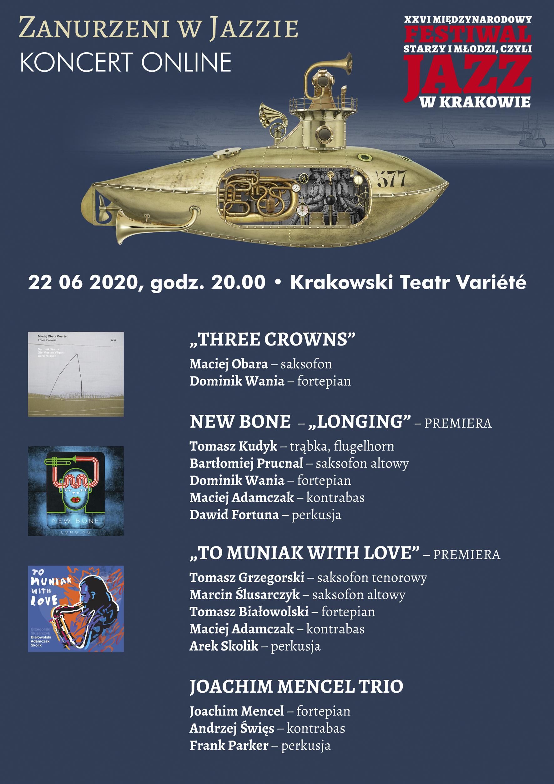 """Koncert online w ramach XXVI Międzynarodowego Festiwalu """"Starzy i Młodzi, czyli Jazz w Krakowie"""""""